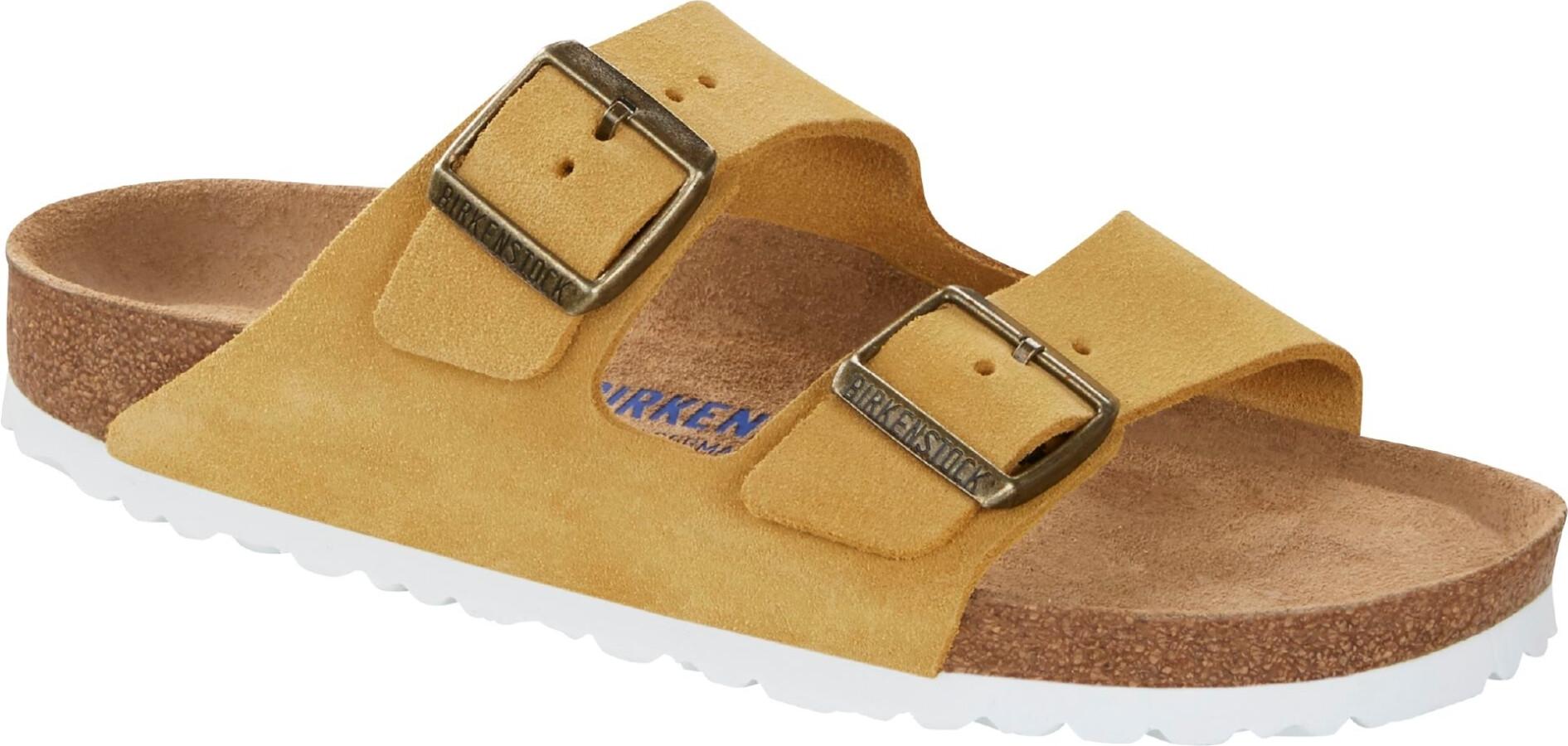 Birkenstock Arizona Soft Footbed Sandalen Wildleder Schmal Damen ochre